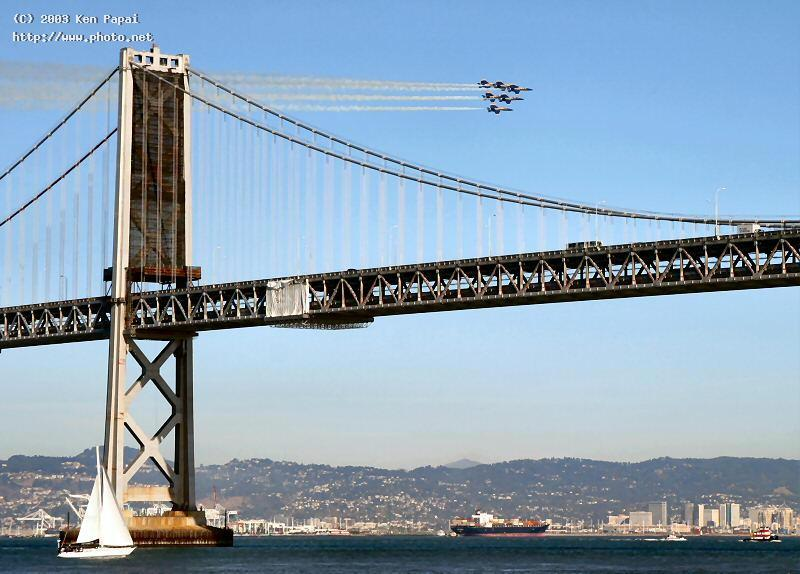 blue angels passing by the bay bridge papai ken