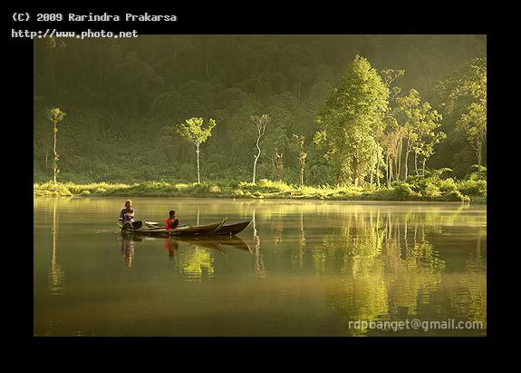 boat in the misty lake situ gunung calm morning mist serve seeking critique prakarsa rarindra