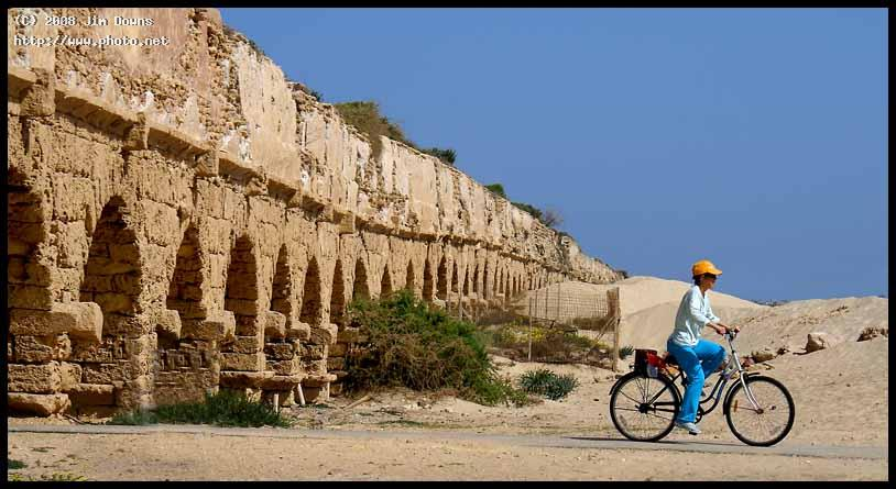 cycling beneath the aqueduct caesarea israel sony f downs jim