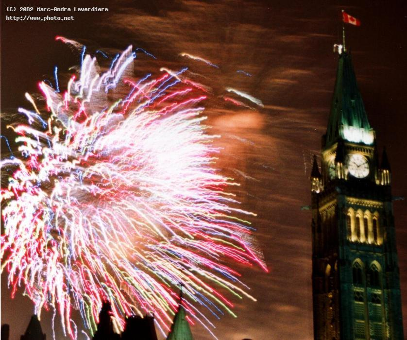 double exposure of fireworks at canada day laverdiere marc andre