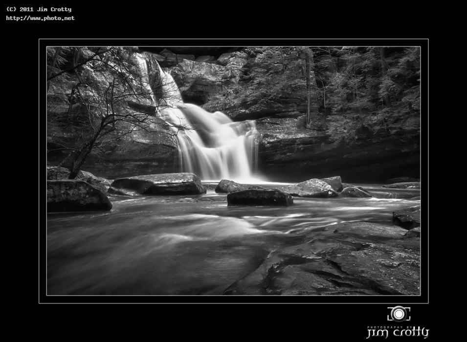 early march at cedar falls flow waterfall black white landscape photography f crotty jim