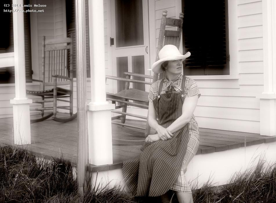 emma hart on her porch portrait bw meluso louis