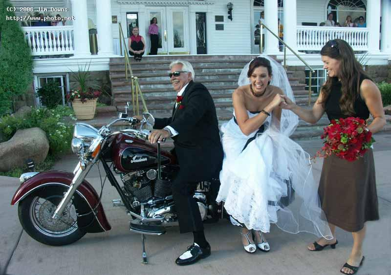 father of the bride delivering goods wedding motorcycle seeking critique downs jim
