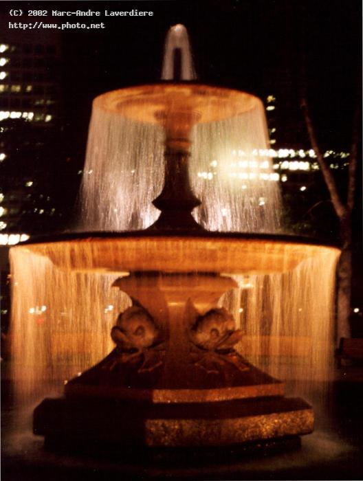 fountain at the confederation park night laverdiere marc andre