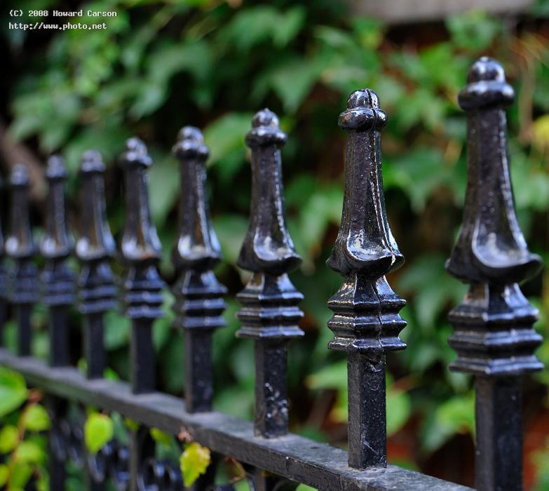 iron fence at sunset little touching quiet garden just light failing or carson howard