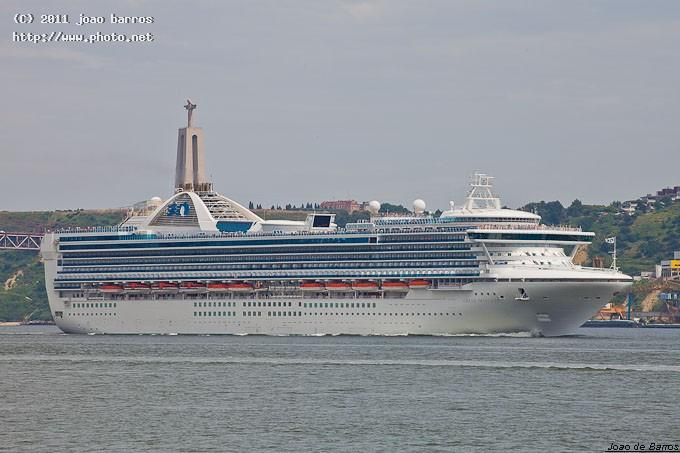 ms grand princess and cristo rei statue maritime travel vessel ship cruiser harbour barros joao