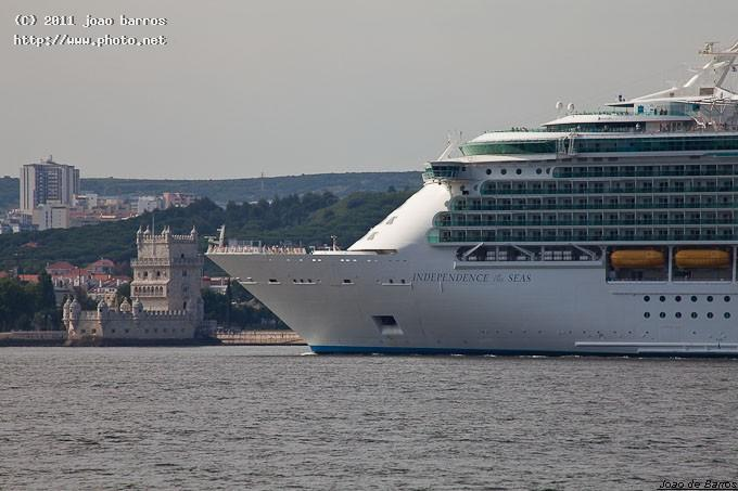 ms independence of the seas and belem tower travel cruiser harbour ship vessel maritime barros joao