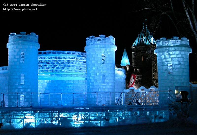 partial view of winter carnival ice castle in queb carnaval hiver canada quebec quebe chevalier gaetan