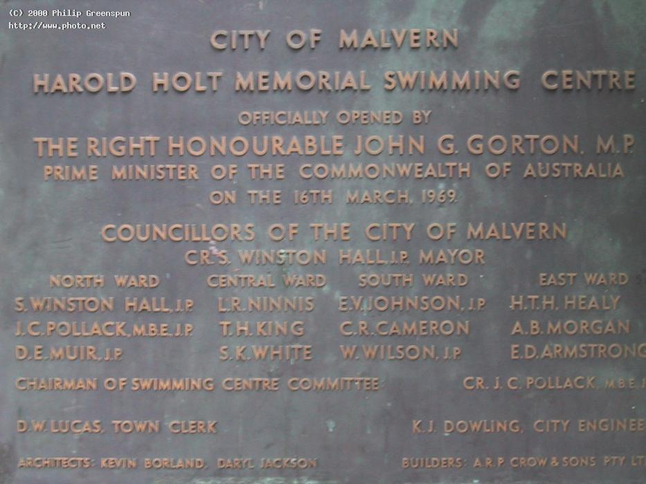 plaque harold holt swimming pool the is a me greenspun philip