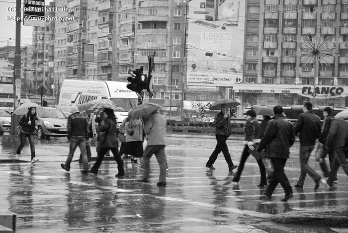 rain in bucharest todaypeople tend to walk faster seeking critique ursu mihail