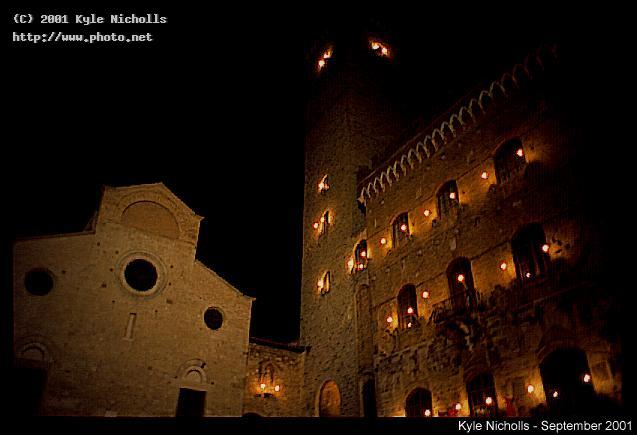 san gimignano town square at night nicholls kyle
