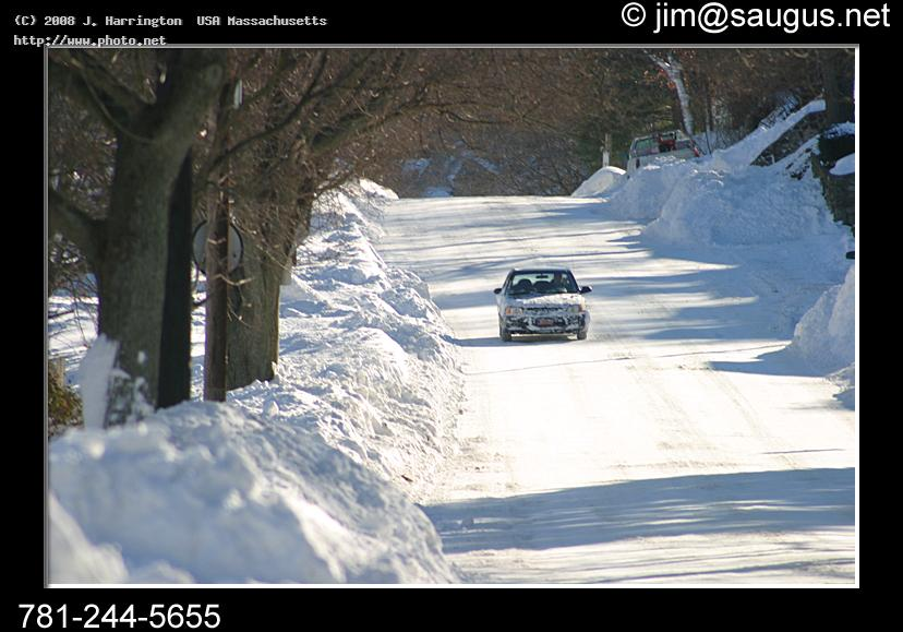 slippery road saugus massachusetts car snow street driving sa harrington usa j