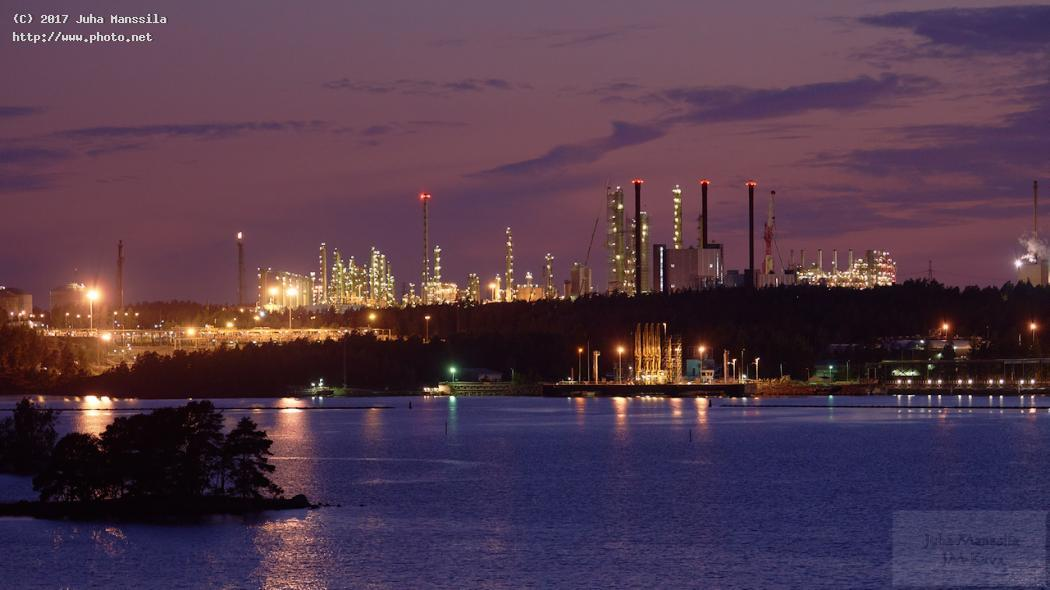 sunset over oil industry nature environment climate neste oy kilpilahti refinery porvoo finland manssila juha