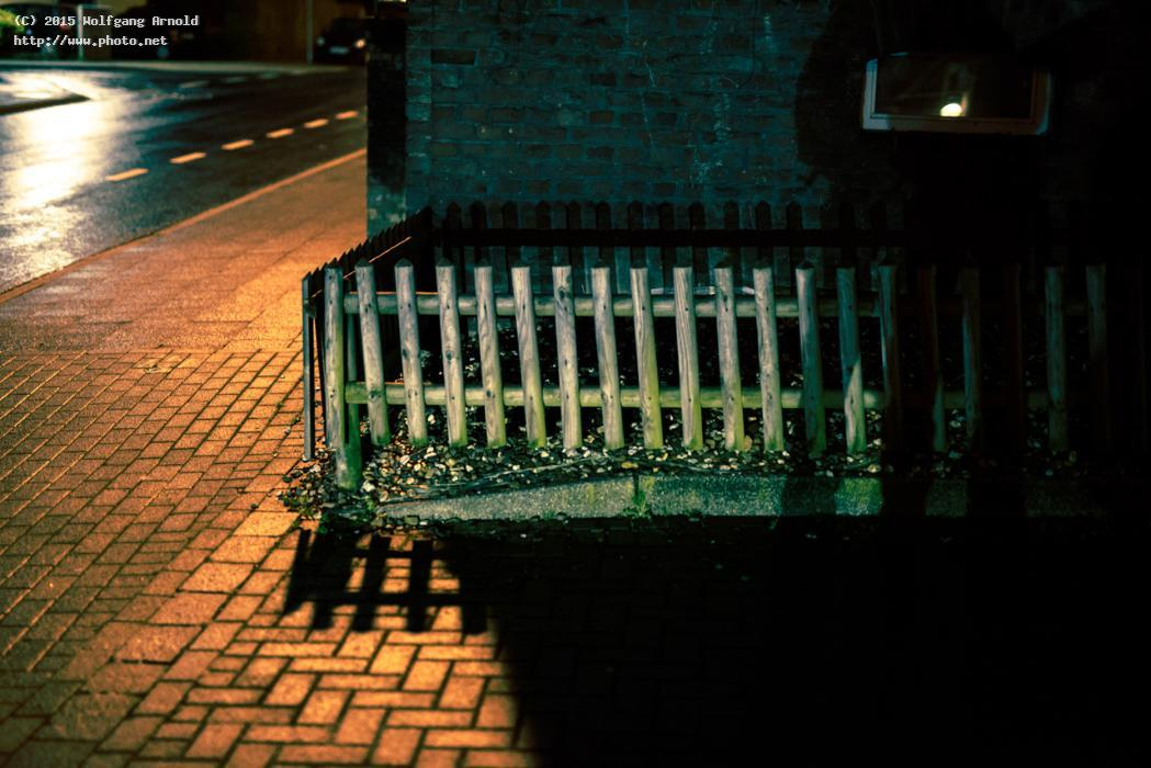 untitled street light fence wood night brick shadow arnold wolfgang